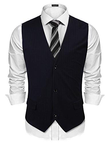 COOFANDY Mens Formal Suit Notched Lapel Dress Vest Premium Button Down Waistcoat