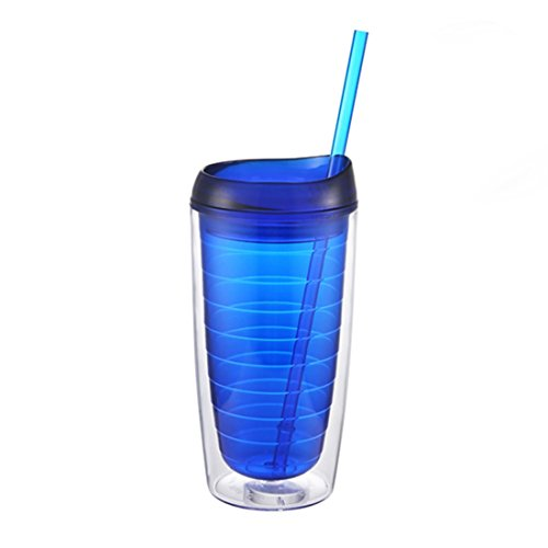 - Jearey Insulated Tumblers Acrylic Travel Tumbler Double Wall Plastic Cups with Lids and Straws (B-Blue, 15oz)