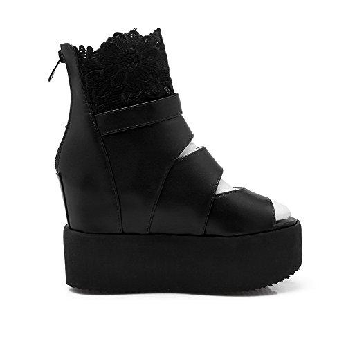 Amoonyfashion Womens Rits Open Teen High Heels Pu Solid Sandalen Zwart