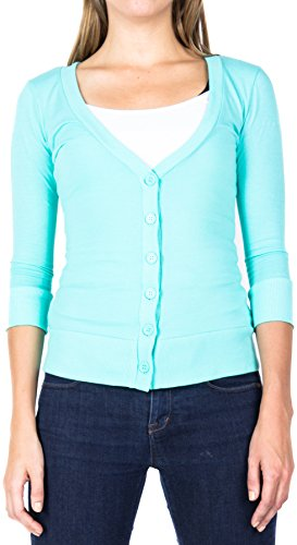 ragstock-womens-3-4-sleeve-button-up-v-neck-cardigan-small-mint-2514