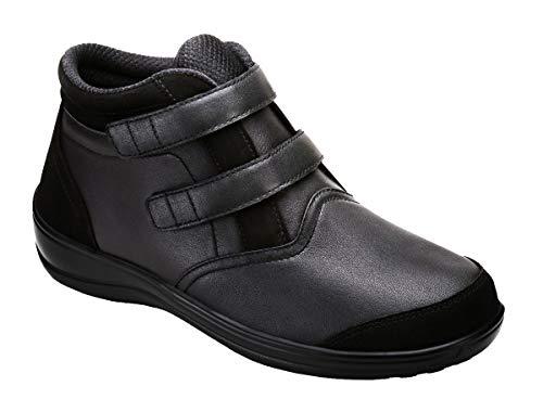 (Orthofeet Comfort Arch Support Plantar Fasciitis Orthopedic Diabetic Women's 2 Strap Boots Bootie Tivoli Black)