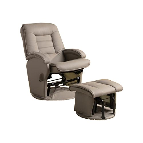 Leather Like Vinyl Glider Recliner with Matching Ottoman Bone - Leather Like Glider Recliner