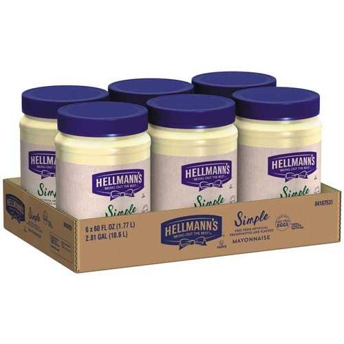 Hellmanns Simple Mayonnaise Spread, 60 Ounce -- 6 per case.