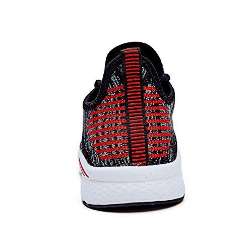 Senni Heren En Dames Lichtgewicht Atletische Ademende Schoenen Met Flitsende Sneakers Zwart / Rood