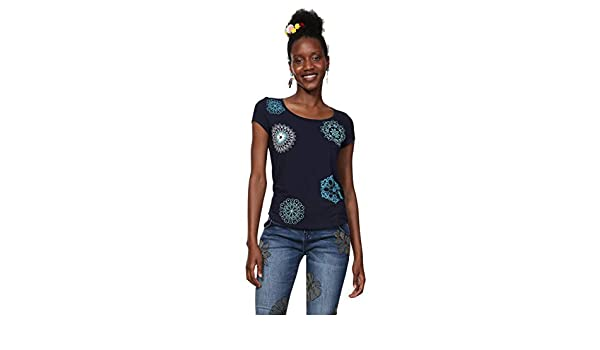 Para Shirt Desigual Camiseta Blue Sonja Mujer Sleeve T Short Woman 5cryc8