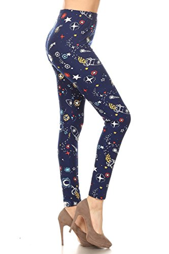 R972-OS Rocket Space Print Fashion Leggings