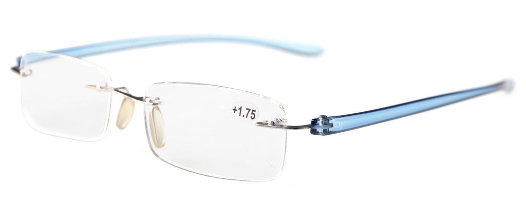0deca8d8fcc7 Amazon.com: Eyekepper Readers Small Lenes Rimless Reading Glasses Blue Arm  +0.75: Health & Personal Care