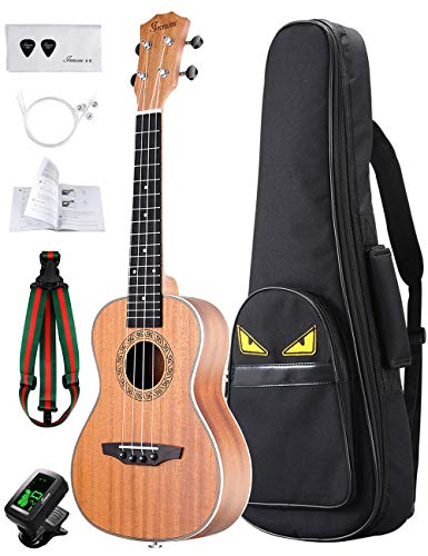 Kit de ukelele para principiantes Soprano 58.4cm caoba ukelele con ukelele sintonizador, Stap, cuerdas, púas, bolsa...