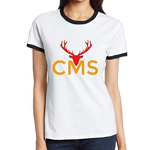 Custom Women's Funny Two-toned Shirt Milu Deer Black Size M