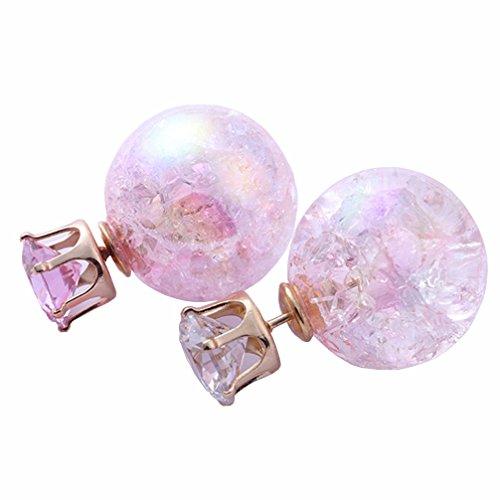 Lujuny Cute Ball Rhinestone Jewelry - Double Side Wear Alloy Earrings Studs with Gift Box for Women Girls, 1
