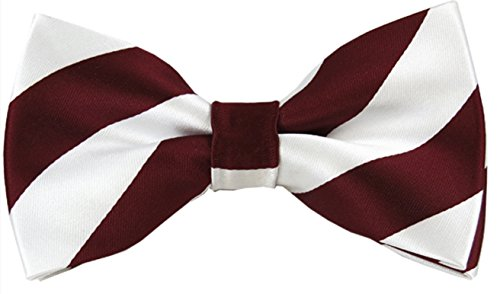 Vincent Apparel Collegiate Stripe Pre-Tied Bow Ties (Multiple Colors) (Burgundy and White)