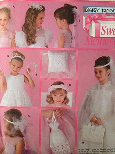 Simplicity Sewing Pattern 5602 - Use to Make - Child's Communion and Bridal Accessories - Bun Wreath, Communion Veil, Flower Girl Headpiece (2 Styles), Ponytail Wreath, Headband, Barrette, Finger Tip Capelet, Bag, Ring Bearer's Pillow and Book Cover