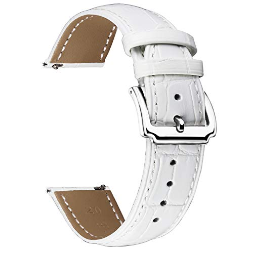 Watch 10 Mm Band (Replacement Watch Band White Leather Quick Release Strap 10,12,14,15,16,17,18,19,20,21,22,23,24,26,28MM)