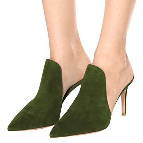 Mule Slip Cm 8 15 Slippers Women High Olive Slide Sandals Size Glossy US FSJ Stiletto Heels Shoes On 4 Fw1qEfw