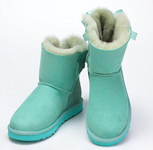 Winter Stylish Womens Snow Calf Cold Girls Lovely Boots Dekedasi Weather Green Mid Ribbon xI8n5qq