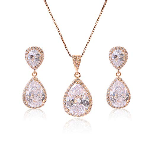 Crystal Jewelry Set for Women - Gold Pear-Shape Sterling Silver Full Teardrop Cubic Zirconia Bridal Pendant Necklace Dangle Earrings Set for Prom Party Wedding Jewelry Set for Bride Bridesmaids