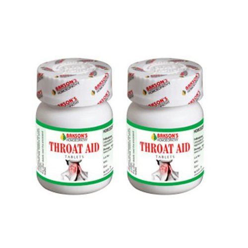"""2 Lot X Bakson's Homeopathy - Throat Aid Tablet Relieves Sore Throat.- """"Expedited International Delivery by USPS / FedEx """""""