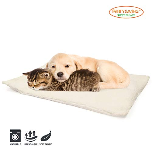 PARTYSAVING PET Palace Self Heating Snooze Pad Pet Bed Mat for Pets Cats Dogs and Kittens for Travel or Home, APL1344, White, Medium
