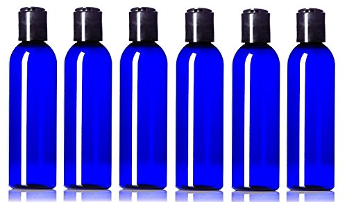 Newday Bottles, Plastic Bottle 4 Oz Cobalt Blue PET Cosmo Bullet Round BPA-Free with Hand Press Smooth Black Disc Cap Lid, Pack of 6