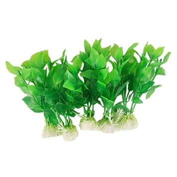 eDealMax Planta de Jardin acuario de plástico decoración del ornamento, DE 5 piezas, Verde