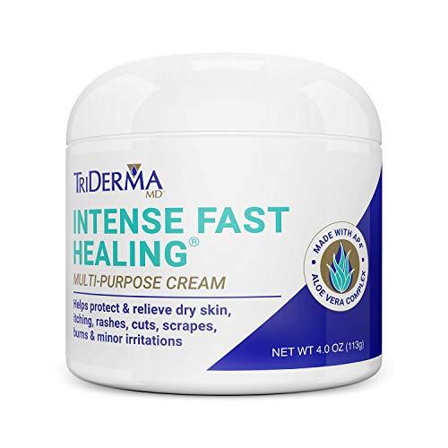TriDerma Intense Fast Healing Cream, Decreases Healing Time for Minor Irritations, Rashes, Scrapes, Cuts, Screw Top Jar, 4oz. ()