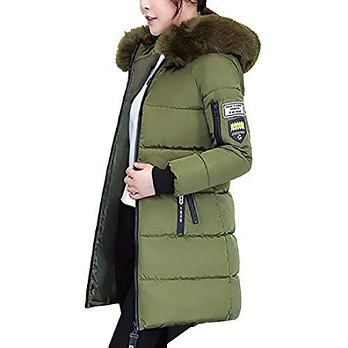Fur Side Thick Elegant Zippered Winter Coat Parka Outwear Pingrog Women's Hooded Coat Zippered Pockets Long Down Armeegrün Sleeve Owqn4PS6xn