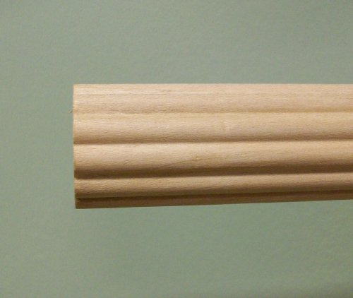 - 1-3/8 inch Wood Fluted Drapery Rod, UnFinished - 4' long [CAPITOL CITY LUMBER]