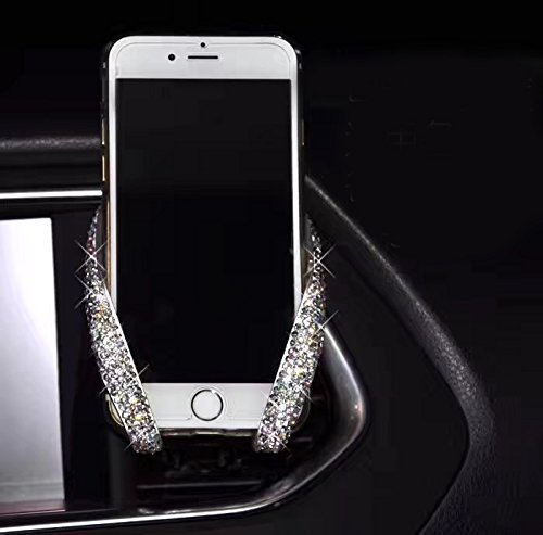 TISHAA Luxury Fashionable Convenient Bling Rhinestone Crystal Car Dash Air Vent Slip-On Adjustable Phone Holder for Easy View GPS Screen (White M Shape) (View Shape)