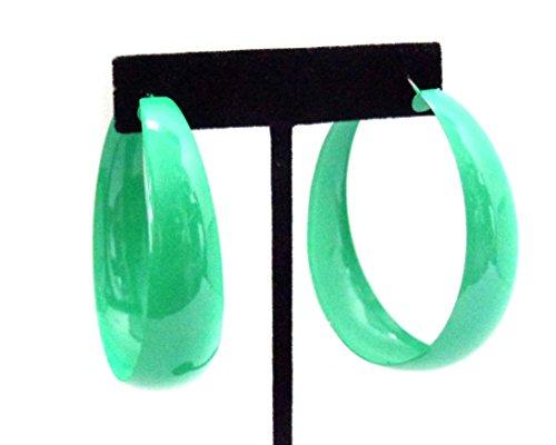 Thick Green Hoop Earrings 2.25 inch Hoop Earrings