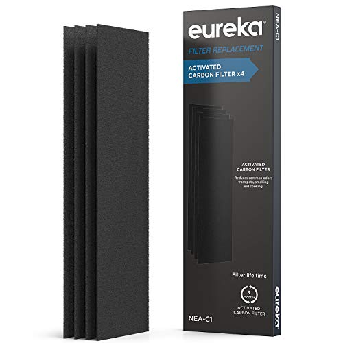 EUREKA Air Purifier NEA-C1, Activated Carbon Filter x 4, Replacement for InstantClear NEA120, Filter4, Black (Filter Replacement Eureka)