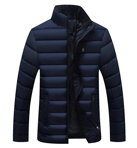 today-UK Men Winter Warm Solid Color Stand Neck Full-Zip Down Jacket Coat 1