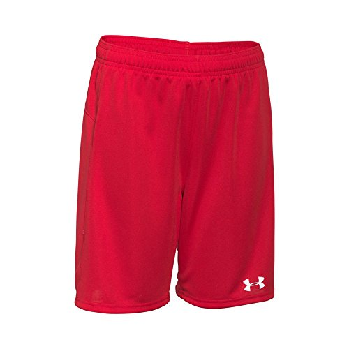 Under Armour Boys' Golazo Soccer Shorts, Red/White, Youth X-Large
