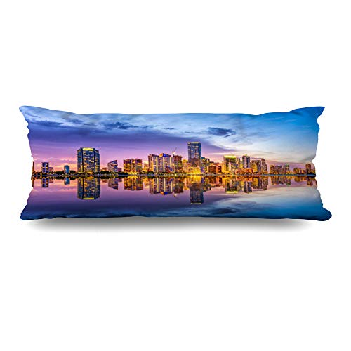DIYCow Body Pillows Covers View Miami Florida USA Skyline Skyscrapers On Biscayne Parks Outdoor Key Cushion Case Pillowcase Home Sofa Couch Rectangular Size 20 x 54 Inches Pillowslips ()