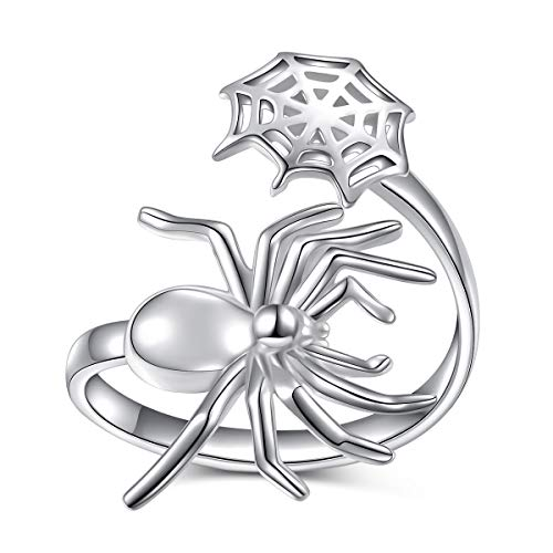 ALPHM Spider Punk Ring for Women S925 Sterling Silver Adjustable Wrap Open Spoon Bohemian Rings