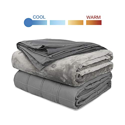 Cheap Richgra Weighted Blanket 20 lbs for About 180-220 lbs Adults | 60 x 80 | Grey | Premium 2 Duvet Cover with Glass Beads Weighted Blanket Black Friday & Cyber Monday 2019