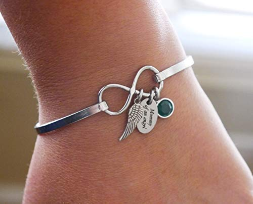 nouvelle version 100% qualité garantie Design moderne Mommy of an Angel Bracelet - Angel Wing Bracelet - Infinity Bangle -  Birthstone Bracelet - Baby Memorial Gifts - Sympathy Gifts - Miscarriage  Gifts - ...