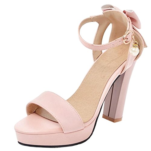 TAOFFEN Sandali Dolce Fiocco Plateau con Donna Pink rO6qWr