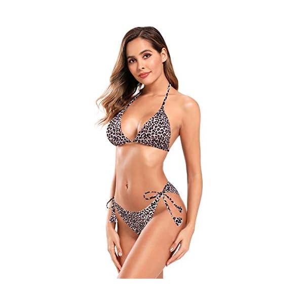 SHEKINI Costume da Bagno Triangolo Sexy da Donna con Scollo a V Profondo Costume da Bagno con Stampa Leopardata Costumi…