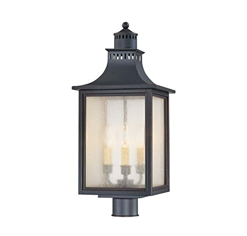 Post Mount Cream (Savoy House Lighting 5-255-25  Monte Grande Collection 3-Light Outdoor Post Mount Lantern, Slate Finish with Pale Cream Seeded Glass)