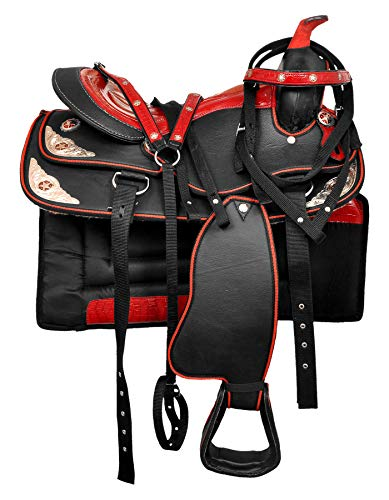 HR, International Synthetic Western Adult Horse Saddle Tack Barrel Racing, Get Matching Headstall, Breast Collar & Saddle Pad Size 16″ Inches Seat Available