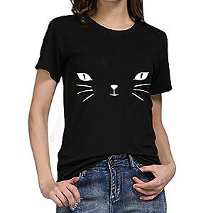 AOJIAN T Shirt Women Short Sleeve Shirts Cat Graphic Slim Tunic Blouse Tanks Vest Tops