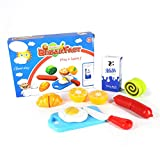 LOZUSA Breakfast Set Play Kitchen Food Pretend Cutting Food Toys - Educational Food Toys Playset with Toy Knife and Cutting Board