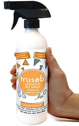 Truseb All Natural Anti Itch Oatmeal Spray Or Shampoo with Baking Soda for Dogs and Cats,Hypoallergenic Relief for Dry, Itchy, Bitten or Allergy Damaged Skin,Hot Spot (Baking Soda Spray ( 17 Oz ))