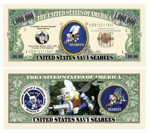 American Art Classics Seabee Million Dollar Bill in Currency Holder - Fun Gift Or Keepsake for Members of The US Navy Construction Battalion by American Art Classics