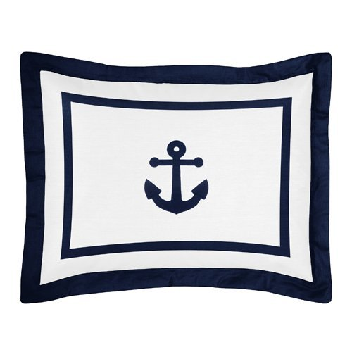 Sweet Jojo Designs Standard Pillow Sham for Navy and White Anchors Away Nautical Bedding by Sweet Jojo Designs
