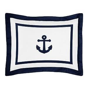 Amazon.com: Almohada Sham estándar para azul marino y blanco ...