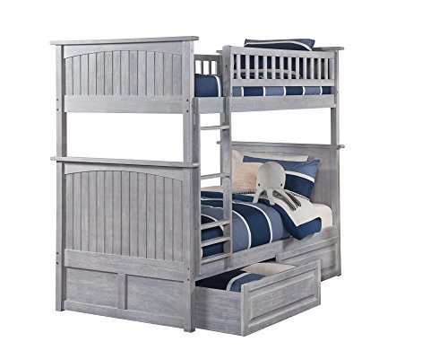 Atlantic Furniture AB59128 Nantucket Bunk Bed with 2 Raised Panel Bed Drawers, Twin/Twin, Driftwood ()