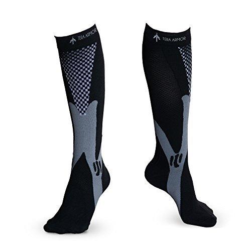 Tera Armor Calze compressive per uomo e donna - Perfette per corsa, periostite tibiale, viaggi in aereo, artrite, gravidanza e maternità