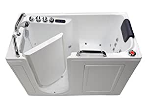 "27"" x 53"" Left Drain Air & Whirlpool Fully Loaded Walk In Bathtub 2753 White Tub"