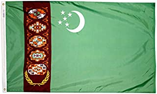 product image for Annin Flagmakers Model 974071 Turkmenistan Flag Nylon SolarGuard NYL-Glo, 2x3 ft, 100% Made in USA to Official United Nations Design Specifications